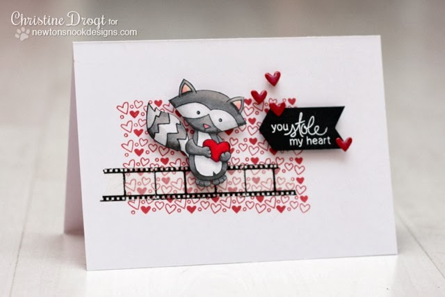 Raccoon Valentine Card by Christine Drogt for Newton's Nook Designs
