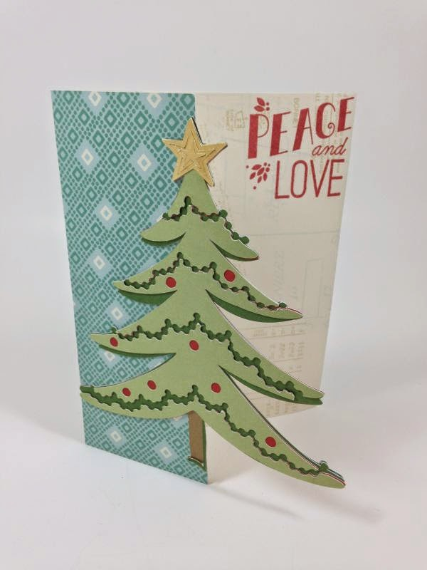 Cricut Peace and Love Christmas tree card sideview