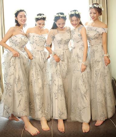 2017 6-Design Glitter Floral Maxi Bridesmaids
