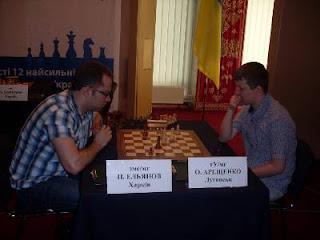 Echecs à Kiev : Pavel Eljanov (2712) a annulé face à Alexander Areschenko (2694) sur une Anglaise © photo Chess & Strategy