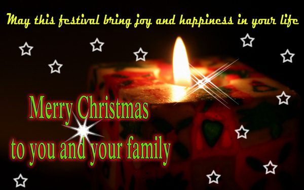 Merry Christmas wishes and greetings with candle of joy