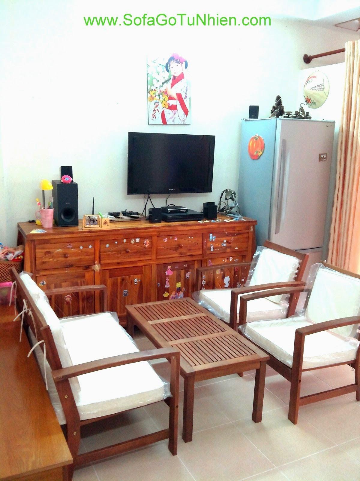 Sofa Gỗ Tự Nhiên Nhà Nhỏ