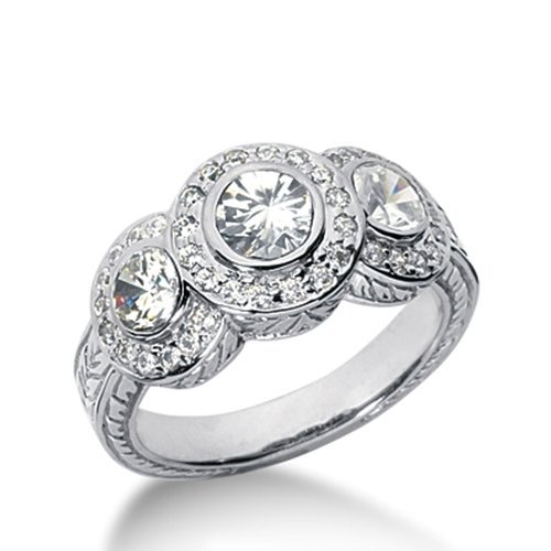 Round Brilliant Diamond 3 Stone Fancy Ring In 14K White Gold