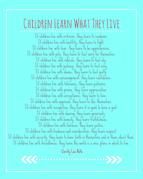 Children Live What They Learn Printable from Blissful Roots