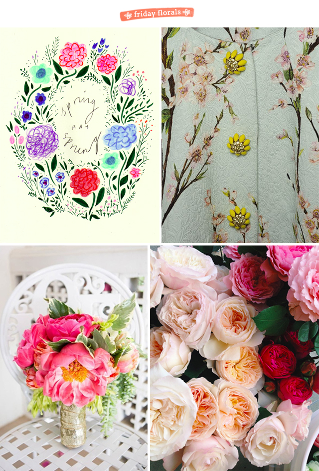 friday florals, a collage of illustration and photos of flowers