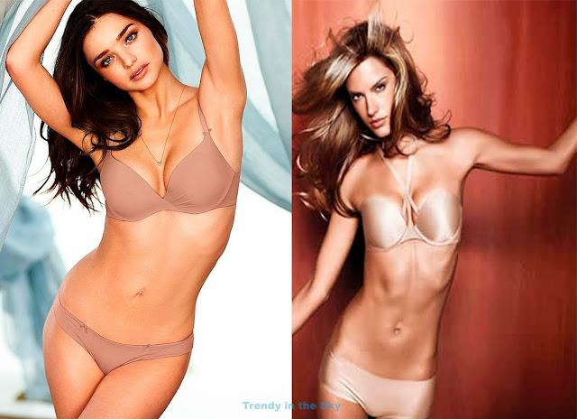 Lencería color nude o maquillaje. Miranda Kerr y Alessandra Ambrossio