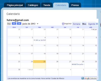 Calendario incrustado