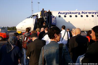 Augsburg Airways, Lufthansa, Landvetter, passagerare, flygplan, aiplane, passengers, Göteborg