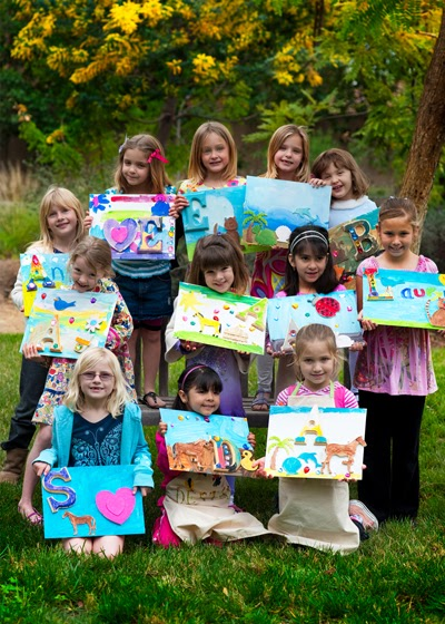 Creatively quirky at home painting artist party for Kids paint party