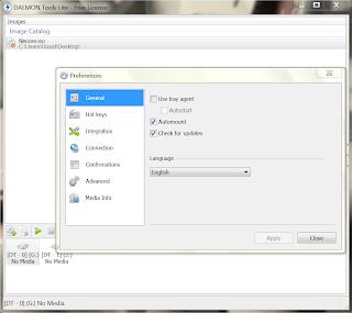 Daemon Tools Lite Preferences screen shot