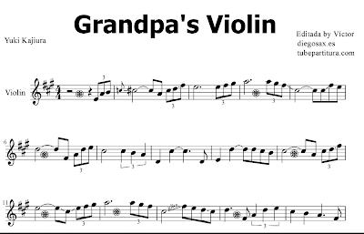 Grandpa's Violin de Yuki Kajiura Partitura de Piano Nivel Medio - Fácil Una canción espectacular para tocar con tu instrumento