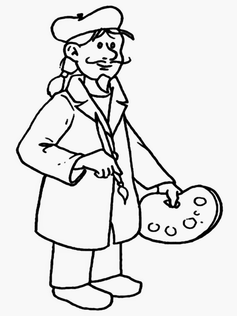 painter coloring pages