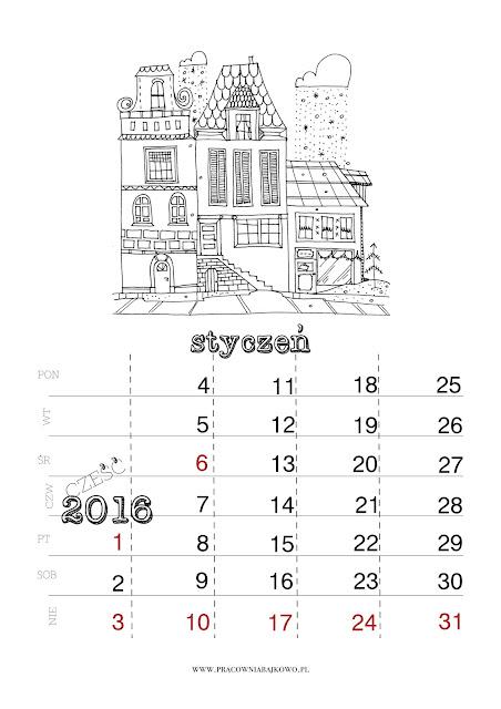 *kalendarz do druku* miesiąc STYCZEŃ 2016