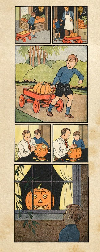 Early-reader vintage comic illustration of Halloween traditions - boy buying a pumpkin to put in little red wagon so father can help him carve.