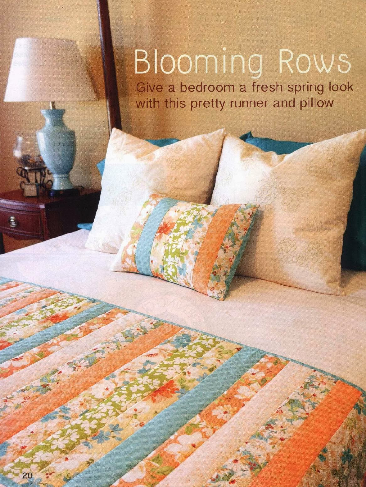 Blooming Rows. Give a bedroom a fresh spring look with this pretty runner and pillow