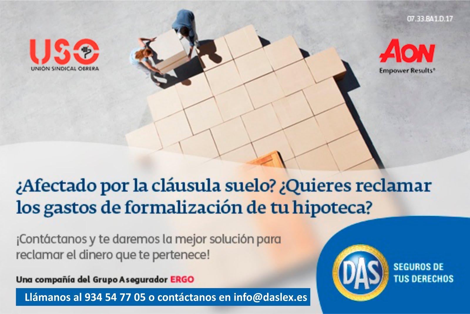 NUEVO SERVICIO JURIDICO PARA AFILIADOS/AS A USO. (RECLAMACION CLAUSULAS SUELO YGASTOS DE HIPOTECA).