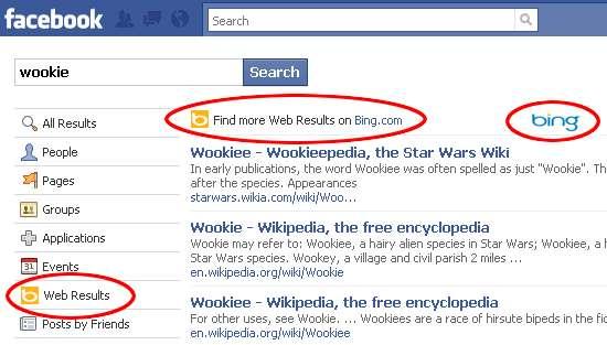 Facebok intégré dans Bing