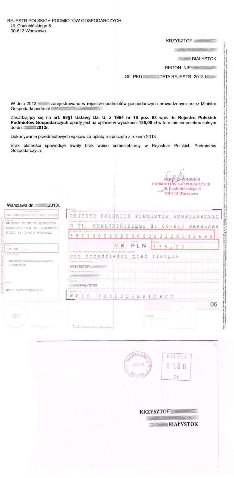 opłata za wpis do rejestru przedsiębiorców