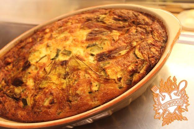 Sformato di zucchine con crosta di fiori di zucca