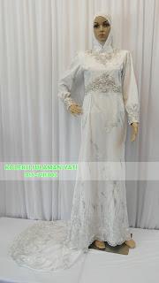 KOLEKSI SULAMAN YATI: Baju Dress Pengantin Muslimah Putih