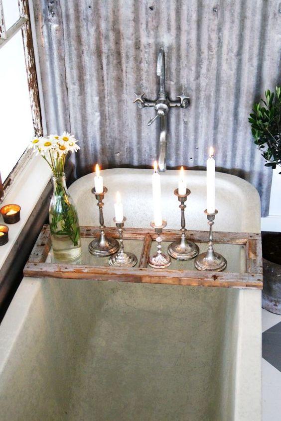 a perfect gray: Wooden Bath Caddies