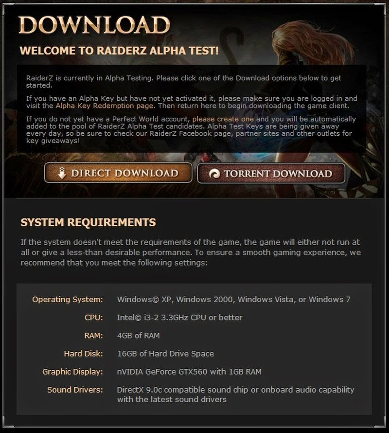 MMORPG system requirements