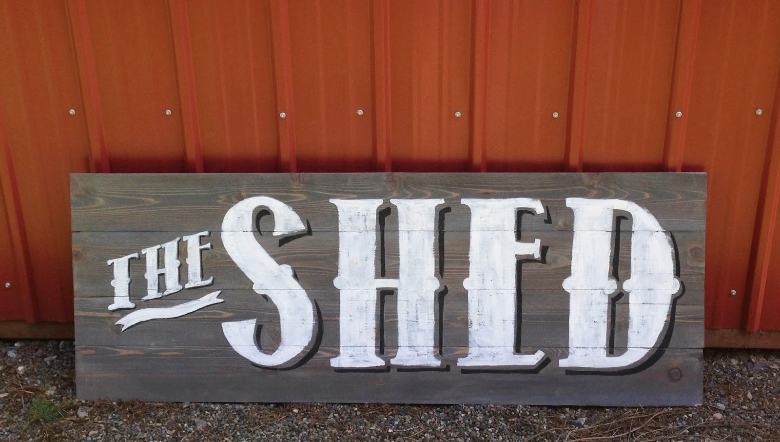 The Shed Custom sign - weathered gray stain and vintage lettering