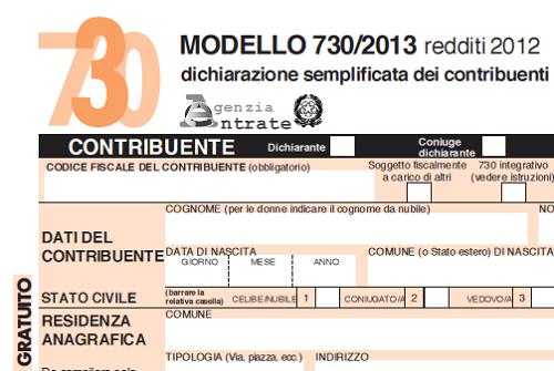 Istruzioni 730 anno 2013 for Modulo 730 anno 2017
