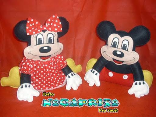 Mickey e Minie em feltro - 3 aninhos Diogo