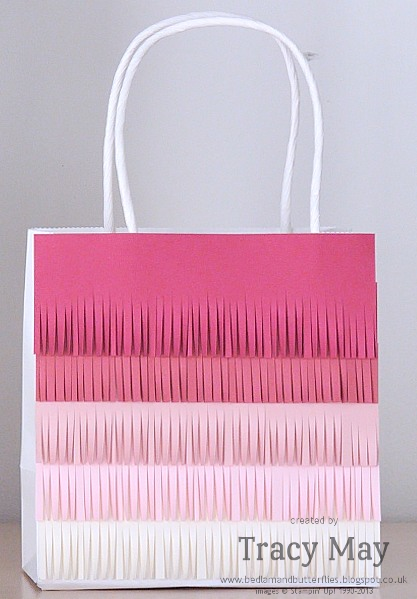 Stampin up gift bag fringe ombre gift ideas Tracy May
