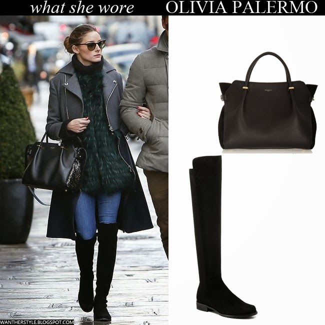 Olivia Palermo in grey coat, green fur, black suede boots with black bag Want Her Style