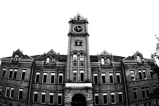 A building with a big clock on the campus of the University of Montana in Missoula.