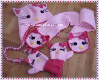Örgü Hello kitty Eldivenler