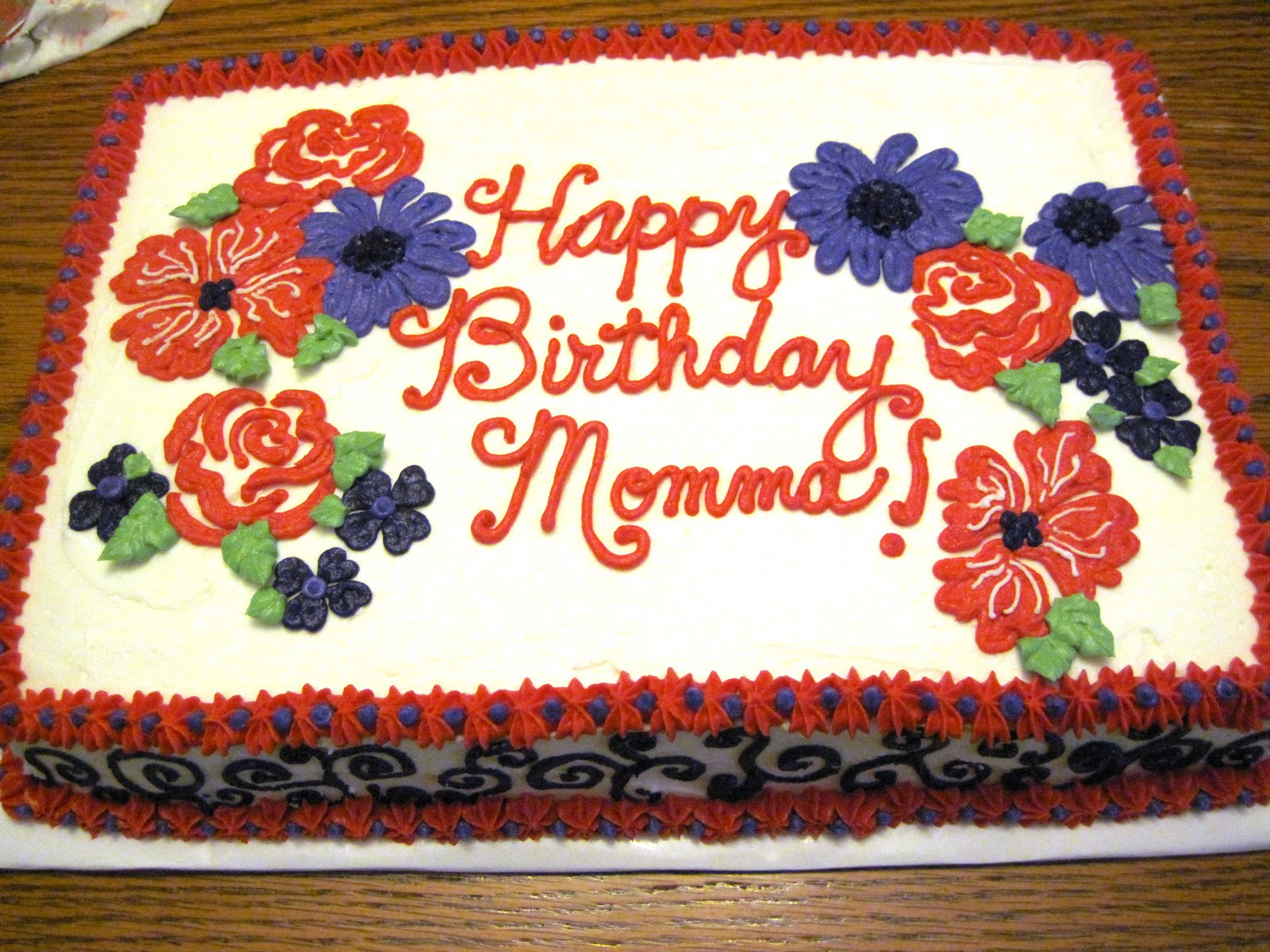 Erins Custom Cakes Red And Purple Flowers Birthday Cake