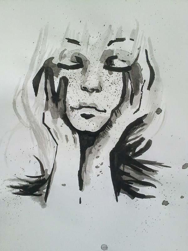 jovencita con tinta china