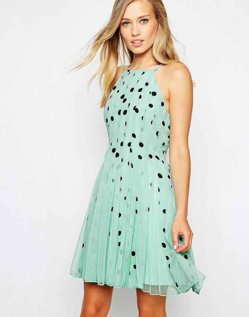 mint pleated dress,