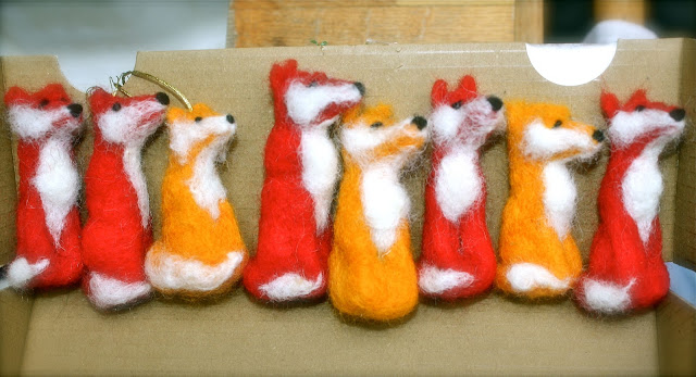 Mrs Fox's felt fox Christmas tree decorations
