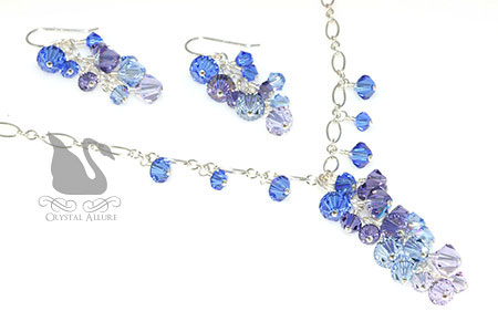 Elise's Custom Ombre' Cascade Crystal Prom Jewelry Set