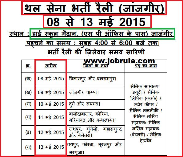 Indian Army Khuli Sainik Bharti Rally in Janjgir (Chhattisgarh) 8th May to 13th May 2015