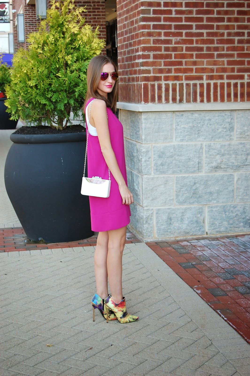 Wearing Tildon Racerback Shift Dress, Nordstrom, Pink summer dress, Wearing Privileged Mulligan floral booties, BCBG Maxazria Lucite Clutch, Pink and Orange Mirrored Sunglasses