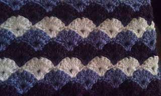 Crochet afghan purples shell stitch