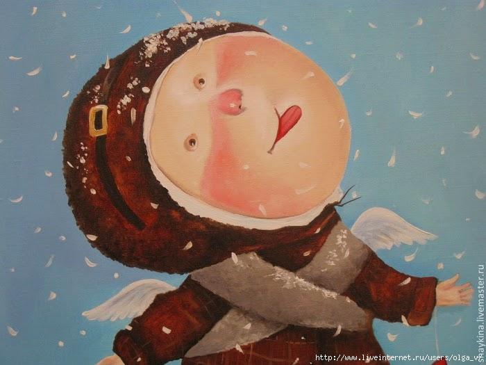 ловит языком снег