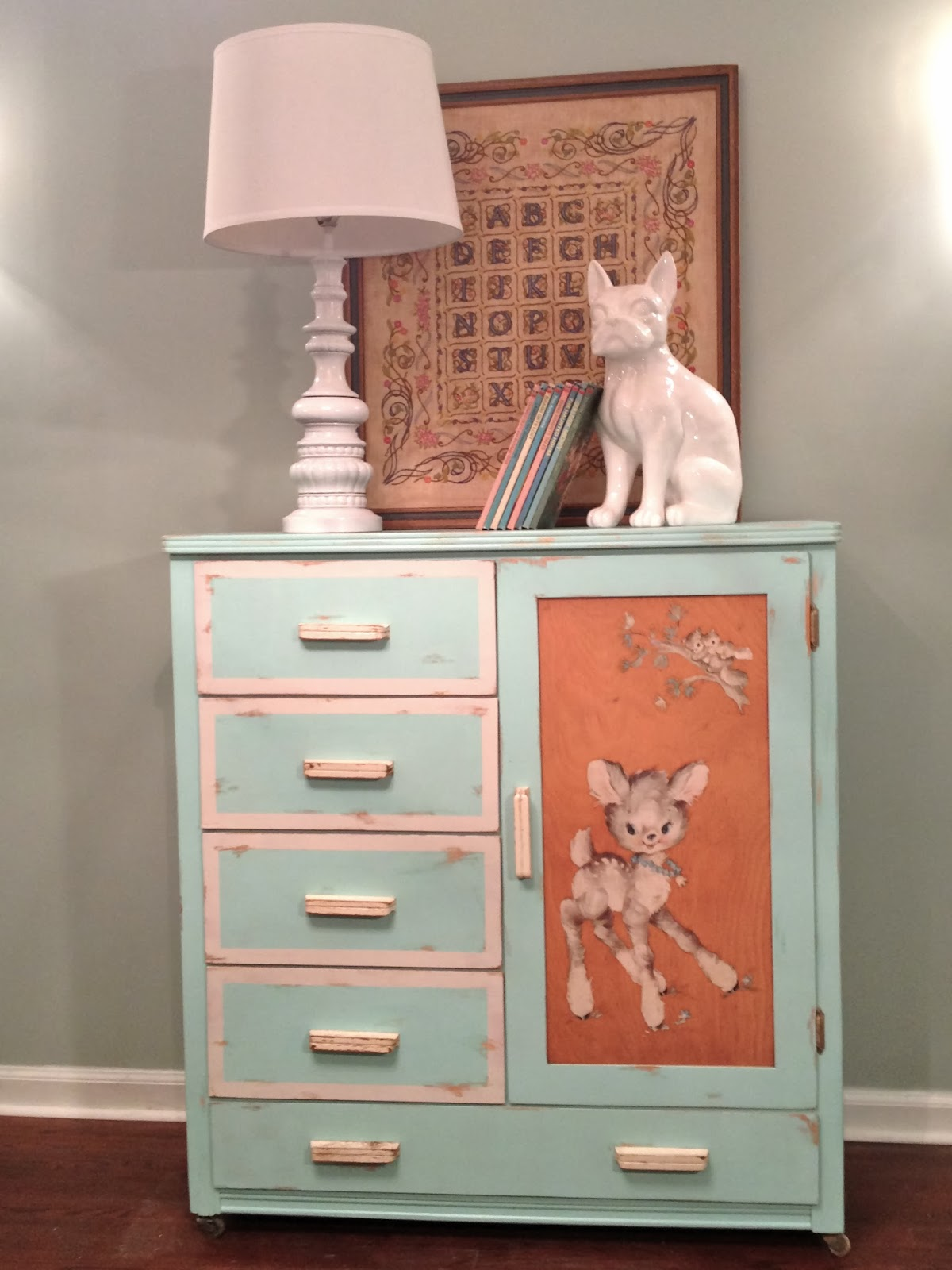 My First Etsy Listing Vintage Teal Dresser with