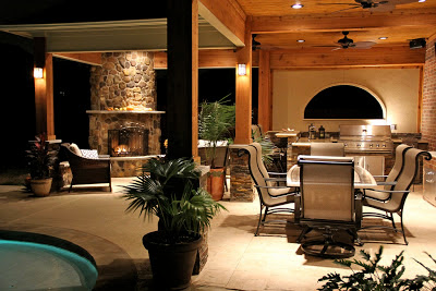 Backyard Outdoor Kitchen Fireplace