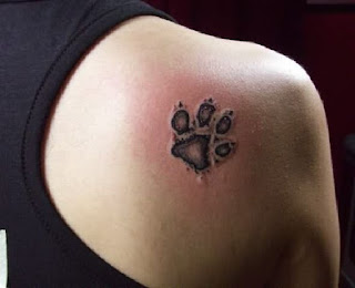 Paw Print Tattoos On Shoulder