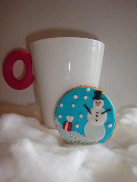 Galleta fondant muñeco de nieve