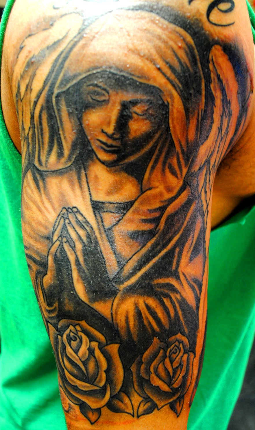Atomik new tattoo work for Praying angel tattoos