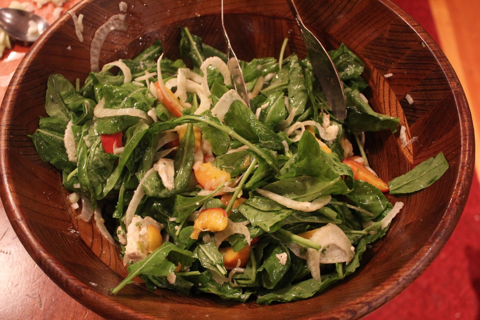 Runaway Apricot's Pickled Peach Salad with Fennel and Arugula