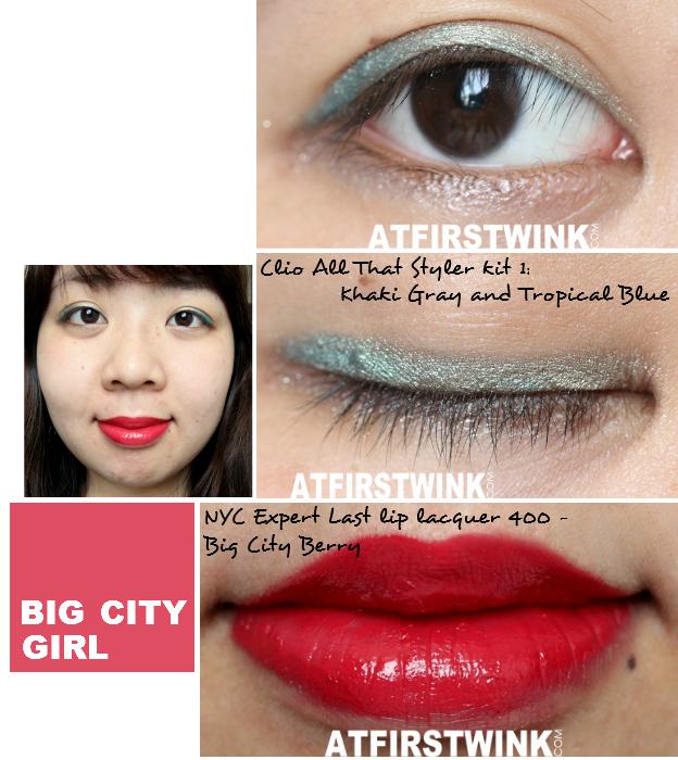 Makeup look 5: Big City Girl (used:Clio All That Styler Kit 1: Khaki Gray and Tropical Blue and NYC Expert Last lip lacquer 400 - Big City Berry