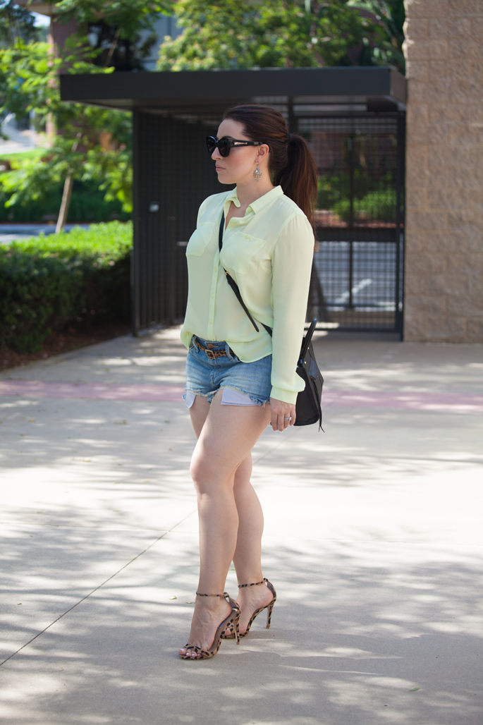 casual summer outfit idea, pony tail, rebecca minkoff mini mab tote, karen walker sunglasses, leopard sandals